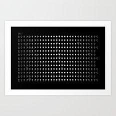 2017 Black Lunar Phases Calendar - Horizontal Art Print