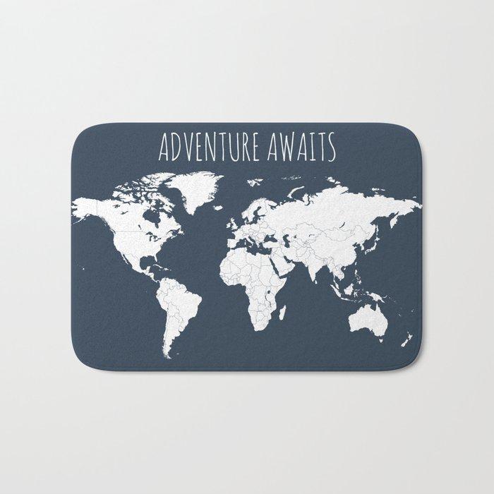 Adventure Awaits World Map in Navy Blue Bath Mat