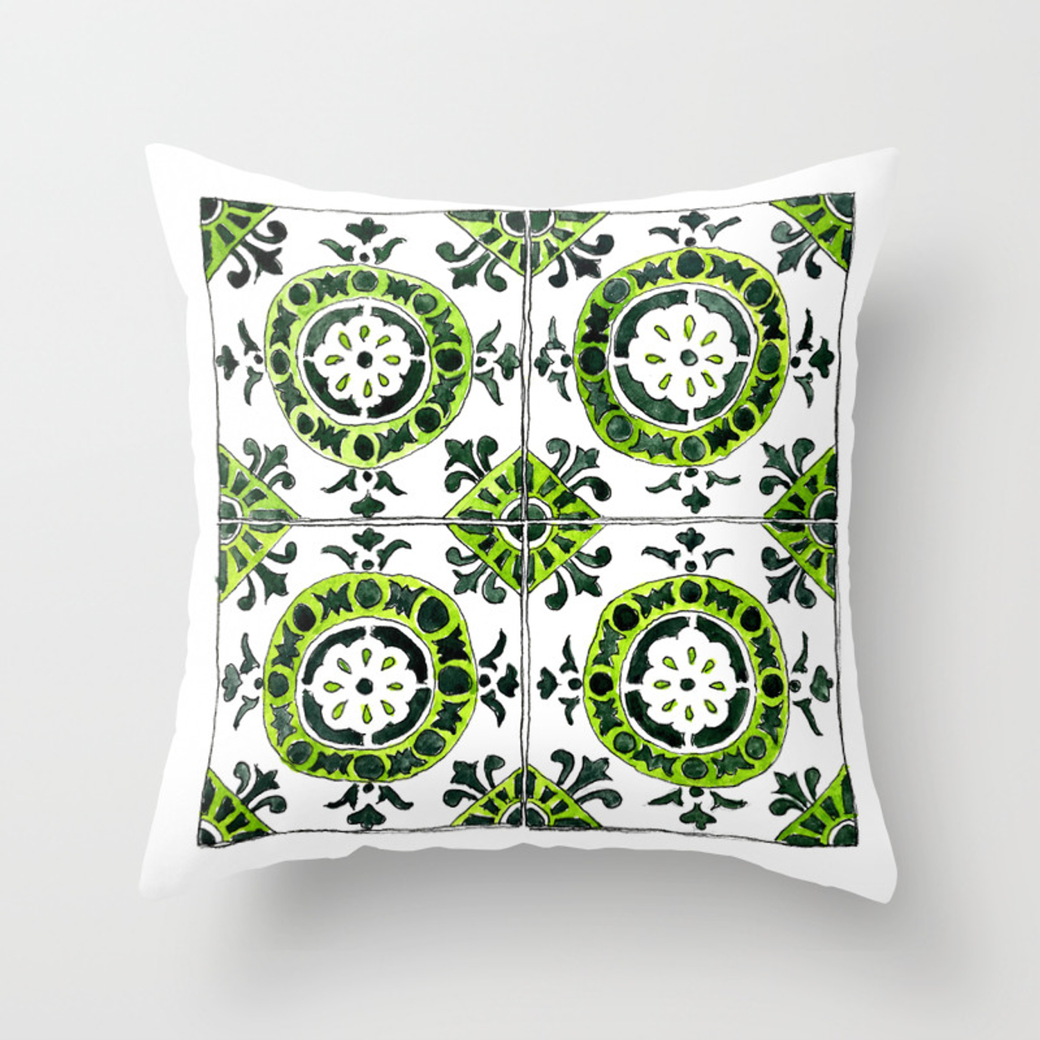 Green And White Circular Portuguese Tile Throw Pillow By Anyatoomre Society6