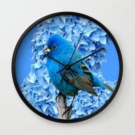 BLUE BIRD & BLUE HYDRANGEAS ART Wall Clock