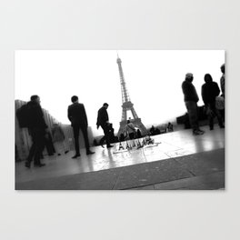 Eiffel Tower and People Walking By Canvas Print