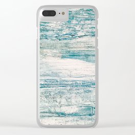 Sea Foam Blue Acrylic Textured Painting Clear iPhone Case