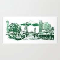Landscape Portlandmark - Green Art Print
