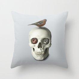 Skull & bird, watercolor Throw Pillow