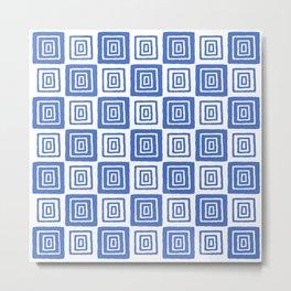 Mid Century Modern Geometric Checker 821 Blue Metal Print