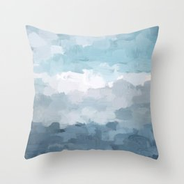 Indigo Navy Sky Blue Gray White Ocean Horizon, Abstract Sea Rainy Cloudy Stormy Water, Painting Art Throw Pillow