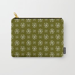 snowflake 18 For Christmas Green Carry-All Pouch