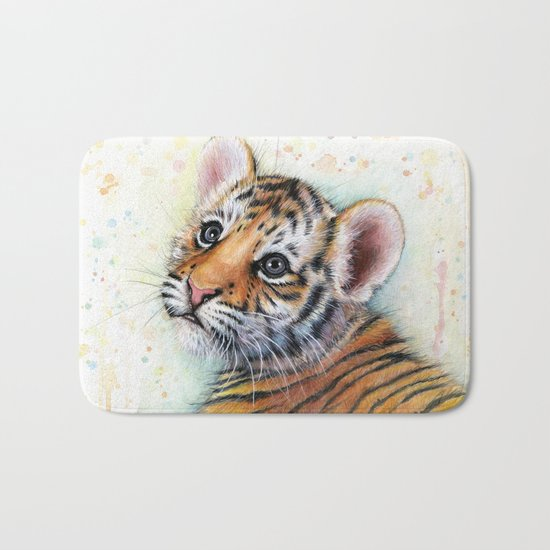Tiger Cub Cute Baby Animals Bath Mat