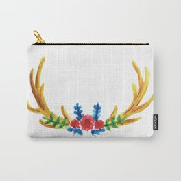 Watercolor Floral Antlers Carry-All Pouch