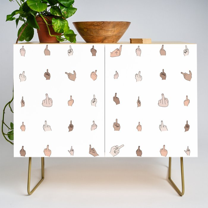 Middle Fingers Colored With Outlines Credenza