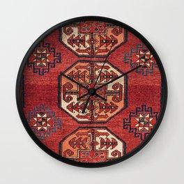 Orange Red Turkestan Medallions II 19th Century Authentic Colorful Geometric Vintage Patterns Wall Clock