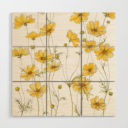Yellow Cosmos Flowers Wood Wall Art