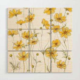 Yellow Cosmos Flowers Wood Wall Art