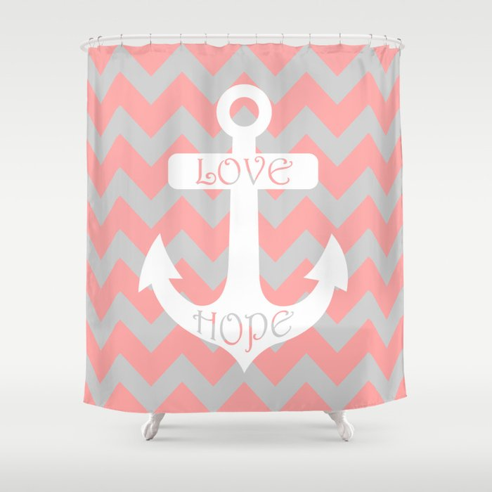 Anchor Chevron Gray Coral Pink Shower Curtain