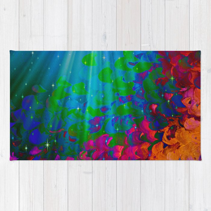 UNDER THE SEA Bold Colorful Abstract Acrylic Painting Mermaid Ocean Waves Splash Water Rainbow Ombre Rug