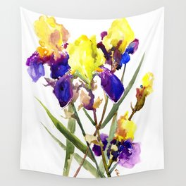 Garden Irises Floral Artwork Yellow Purple Blue Floral design Wall Tapestry