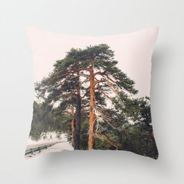 The beauty of high mountain trees Throw Pillow