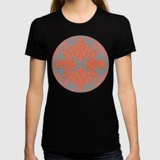 Burnt Orange, Coral & Grey doodle pattern Black MEDIUM Womens Fitted Tee