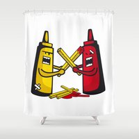 fries Shower Curtains featuring Fries wars by pludadesign