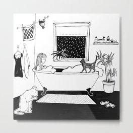 Cat lady in the bathtub Metal Print