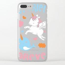 Cute Kawaii Narwhal Unicorn Bff Best Friends Forever Shirt Clear iPhone Case