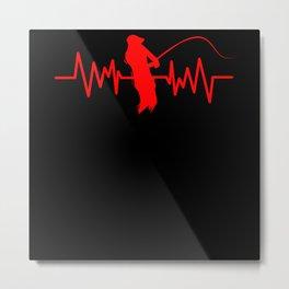 Fishing Heartbeat Metal Print