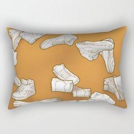 Falling Objects: Kicks on Orange Rectangular Pillow
