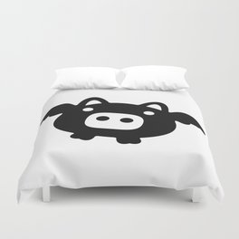 Pigs Will Fly (b&w) Duvet Cover