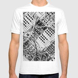 analog synthesizer  - diagonal black and white illustration T-shirt