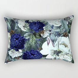 Vintage & Shabby Chic - Blue Winter Roses Rectangular Pillow