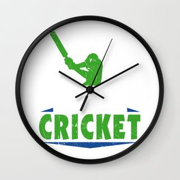 I'D Rather Be Watching Cricket Cricket Coach Batsman Bowler Wall Clock