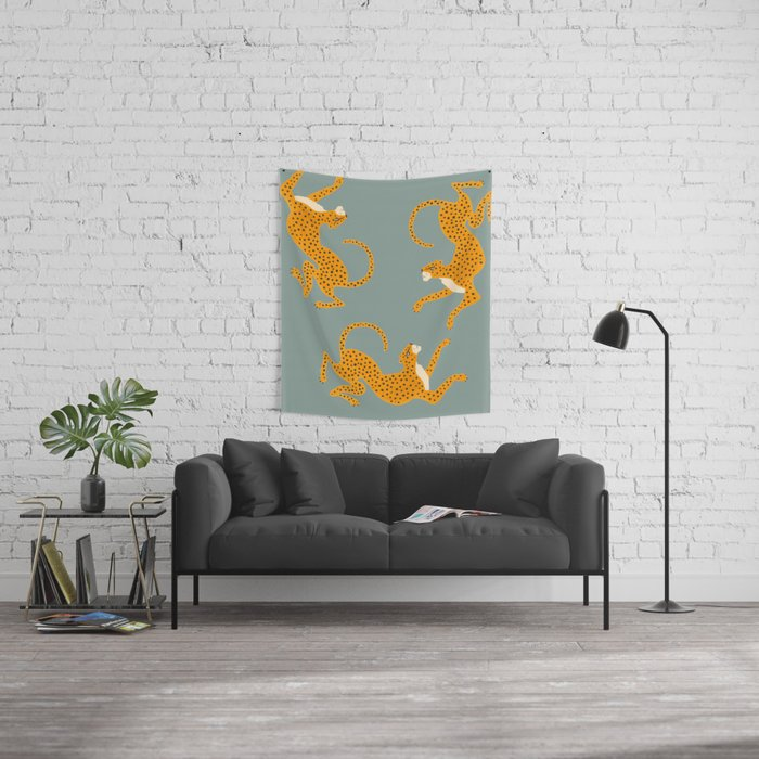 Leopard Race - blue Wall Tapestry