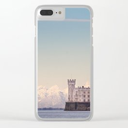Miramar Castle with Italian Alps in background. Trieste Italy Clear iPhone Case