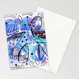 Miro Inspired Watercolor Shapes Stationery Cards