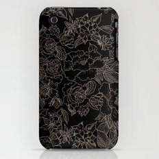Pink coral tan black floral illustration pattern iPhone (3g, 3gs) Slim Case
