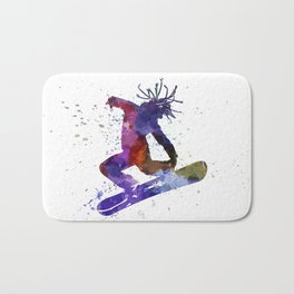young snowboarder Bath Mat