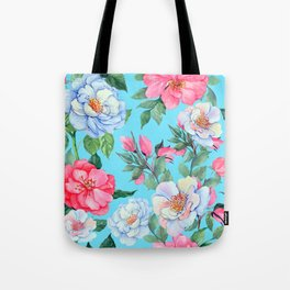 Pink and Blue Floral Print On Aqua Background Tote Bag