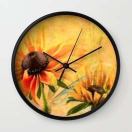 Rudbeckia flowers abstract Wall Clock