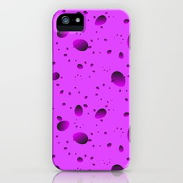 Large purple drops and petals on a light background in nacre. iPhone Case