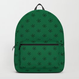Black on Cadmium Green Snowflakes Backpack