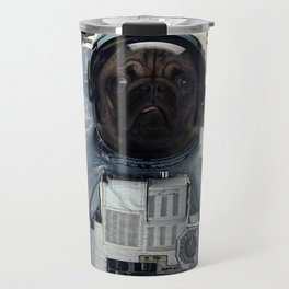 Pug dog astronaut and space dust in the universe Travel Mug