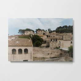 Old stone houses at Tossa de Mar   Architecture at the coast of Spain   Fine art travel photography Europe Metal Print