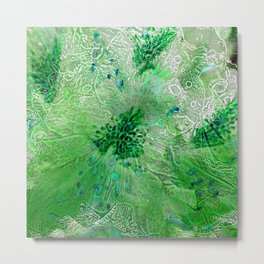 Green Lace Azalea Abstract  Metal Print