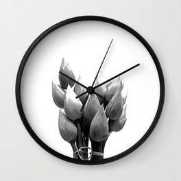 Black and White Lotus Buds Wall Clock