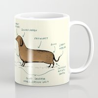 anatomy Mugs featuring Anatomy of a Dachshund by Sophie Corrigan
