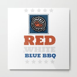 Red White and Blue BBQ USA Metal Print
