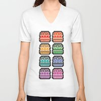 8bit V-neck T-shirts featuring 8bit burger by thev clothing