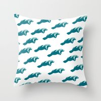 manatee Throw Pillows featuring Manatee by Gallery Girl