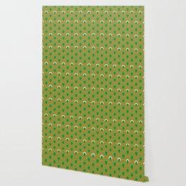 retro sixties inspired fan pattern in green and orange Wallpaper