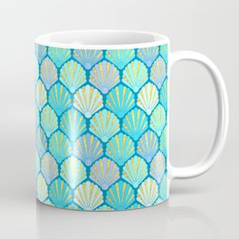Seashells // Art Deco Shell Fans in blue, teal, turquoise & gold fit for a mermaid! Coffee Mug